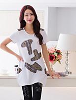 BIAOSHANG®Women's Casual Print Plus Sizes Micro-elastic Short Sleeve Long T-shirt (Cotton)