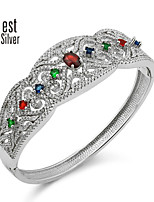 Sterling Silver Inlaid Colored Gemstones Bracelet S925 Silver Plated Platinum Bracelet Luxurious