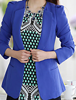 Women's Solid Blue/White/Black/Yellow Blazer , Work Long Sleeve
