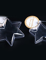 Decorative Clear Plastic Acrylic Fillable Star Hanging Ornaments 80mm - Pack of 5