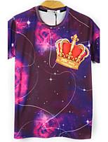 European Style TEE Digital Printing 3D T-shirt Asteriated Crown Harajuku Sleeved T-shirt