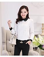 Women's Jacquard White Blouse , Shirt Collar Long Sleeve Hollow Out/Flower