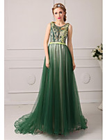Formal Evening Dress A-line Jewel Court Train Tulle Dress