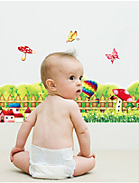 Wall Stickers Wall Decals,The Mushroom Flowers Fence Play Crural Line PVC Wall Stickers