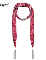 D Exceed  Women Elegant Pink Leopard Round Dot Pattern Chiffon Scarves with Pendant Silver Tassel Jewelry Scarfs