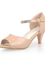 Women's Shoes Patent Leather Kitten Heel Heels/Peep Toe Pumps/Heels Dress Pink/White