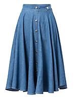 Women's Fashion Korea Elastic Waist Gold Buckle Summer Casual Inelastic Knee-length Pleated Skirt (Denim)