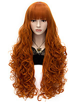 80cm Long Flat Bang Full Orange Curly heat resist Synthetic Cosplay Hair Party Wig