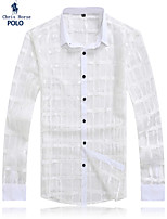 Men's Casual/Work/Formal/Plus Sizes Plaids & Checks/Pure Long Sleeve Sexy Night Club/Stage Style Shirt (Lace/Mesh)
