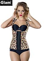 I-Glam Hot Women's Shoulder Waist Train Latex 3 Hooks Corset Yellow Leopard Print