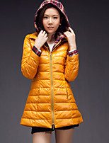 Women's Solid Coat , Casual Hooded Long Sleeve