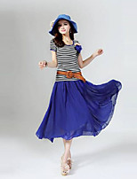 Women's Striped Blue/Green T-shirt , Round Neck Short Sleeve Pleated