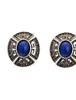 Women's Retro Exotic Blue Gem Stud Earrings HJ0044