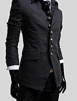 Men's Long Sleeve Jacket , Cotton Blend/Polyester Casual Pure