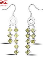 NBE Sterling Silver/Gem Earring Natual Olivine Drop Earrings/Hoop Earrings Wedding/Party/Daily/Casual 1pair