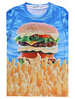 European Style TEE Digital Printing 3D T-shirt  Hambergur French Fries Harajuku Sleeved T-shirt