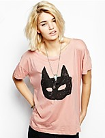 New Summer Women Tops Short Sleeve O Neck Graffiti Batman Mask Printed Loose Pink T Shirt