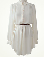 Women's White/Black Shirt , Shirt Collar Long Sleeve Lace