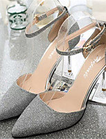 Women's Shoes Stiletto Heel Pointed Toe Pumps/ Dress Black/Silver