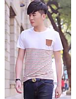 Men's Striped Pattern Insert Cotton T-shirt
