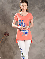 Women's Red/White T-shirt , Round Neck Short Sleeve Embroidery