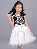 Girl's Cotton/Mesh/Organza/Spandex Dress , Summer Sleeveless
