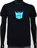 Rechargeable Battery Included Light Up LED T-shirt Transformers Decepticon Sound Activated and Multiple Flashing Modes