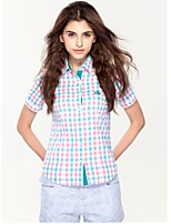 JAMES Summer Women's Slim Blue-White-Pink Plaids&Checks  Short Sleeve Shirt/ Blouse Business Cute Fashion