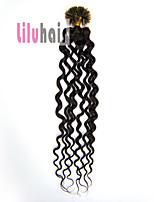 20inch 0.5g/s 100s Curly Pre-bonded Keratin Nail U Tipped Remy Human Hair Extensions Color #02 Dark Brown 50g