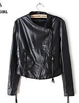 LIVAGIRL®Women's Jacket Fashion Stand Neck Long Sleeve Slim PU Leather Jacket England Style Vintage Motorbike Coat
