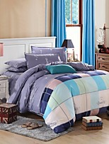 Light Blue/Purple Grid Bedding Set of 4pcs Queen/Twin Set