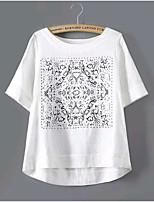 T-Shirt Da donna Rotonda Manica corta Cotone
