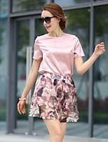 Women's Print/Patchwork/Color Block Multi-color T-shirt , Round Neck Short Sleeve Flower