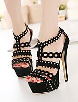 Women's Shoes Fleece Stiletto Heel Open Toe Sandals Dress Black