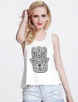 TS Women's Simplicity Micro-elastic Print Casual T-shirt/Vest (Cotton)