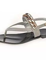 Women's Shoes Flat Heel Toe Ring Sandals Dress Black/Gray