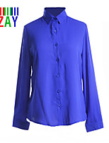 ZAY Women's Casual/Work Solid Chiffon Long Sleeve Shirt