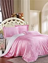 conjuntos Mingjie rosa congelado gelo seda e roupas de cama lixar branco 4pcs define capa de edredão queen size e king size