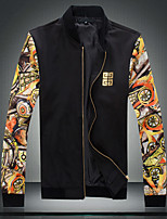 Men's Long Sleeve Jacket , Cotton/Polyester Casual/Sport/Plus Sizes Print