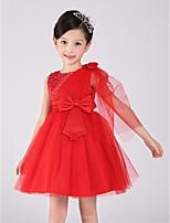 A-line Diz-uzunluğunda Pamuk/Organza Kolsuz Çiçek Kız Elbise