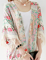 Women's Print Multi-color Coat , Casual ¾ Sleeve Cotton Blends Tassel