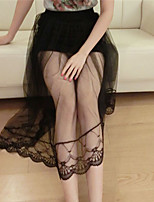 Women's Sexy Casual Lace Micro-elastic Sheer Midi Skirts (Lace Mesh)