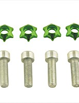 Car Ornament Stars Shaped 6MM Alloy Metal License Plate Bolts Screws (4 Pcs)
