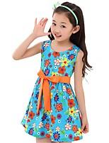 Kids Girl's Summer Sleeveless O-neck Bow Belt Printing Floral Dresses (Cotton Blends)