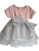 Baby Girls Shirts Gauze Bow tutu Dress Princess Party Dance Dresses (Cotton Blends)