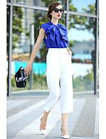 Women's Patchwork/Color Block Multi-color T-shirt , Ruff Collar Short Sleeve