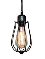 WestMenLights Vintage Industrial Metal Cage Pendant Lamp Ceiling Light Black Wrought Iron 210mm*110mm