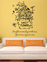 Wall Stickers Wall Decals Style Sweet Flower English Words & Quotes PVC Wall Stickers
