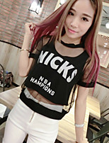 Women's Sexy Casual Micro-elastic Short Sleeve Short T-shirt (Mesh)