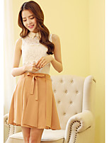 Women's Solid Skirts , Sexy/Casual/Cute Above Knee Bow/Pleated/Ruffle